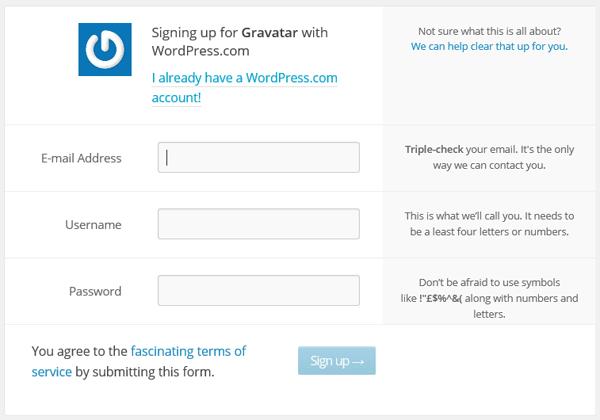Crear cuenta WordPress