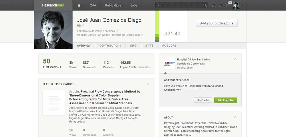 Mi página de perfil en ResearchGate