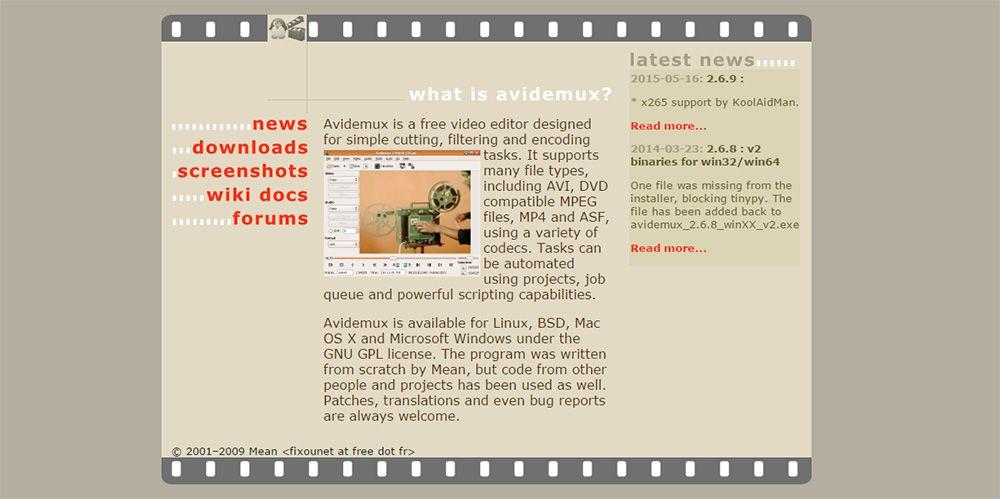 Página de descarga de Avidemux