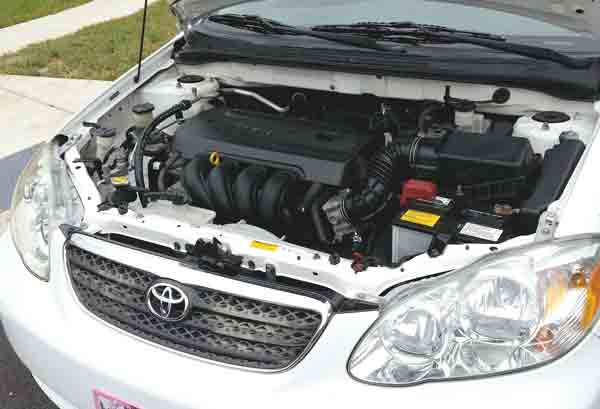 Engine bay of silver Toyota