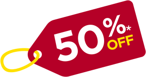 50% off banner