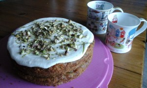 Courgette/zucchini cake with lemon and lime marmalade