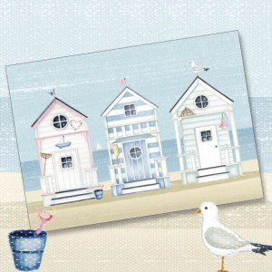 beach huts, phoenix trading, greeting card