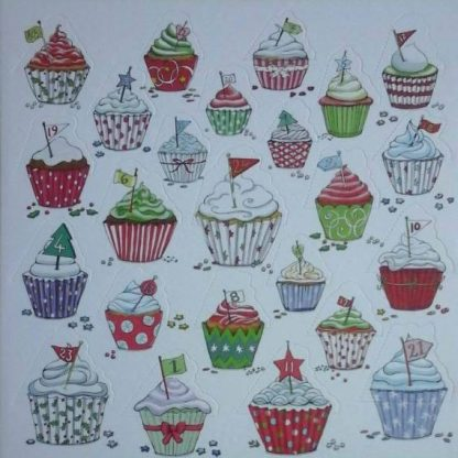 Festive Cupcakes advent calendar card
