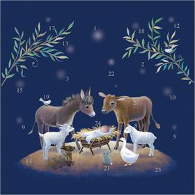 Nativity Stable Advent Calendar Card