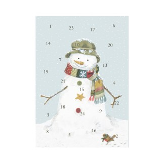 Snowman advent calendar card