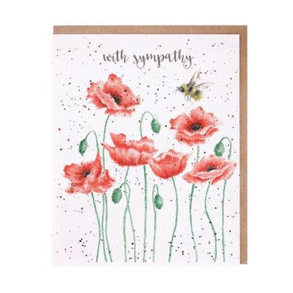 'Poppies and Bee' Sympathy Card