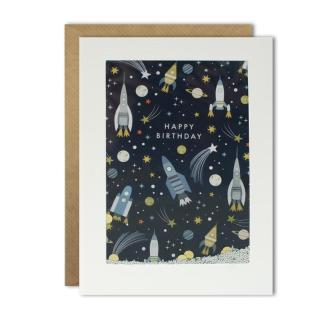 Happy Birthday Rocket Shakies Card