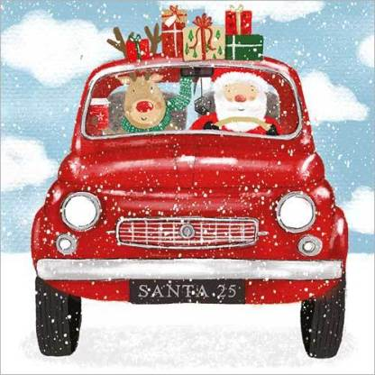 Santas Red Car Christmas Cards