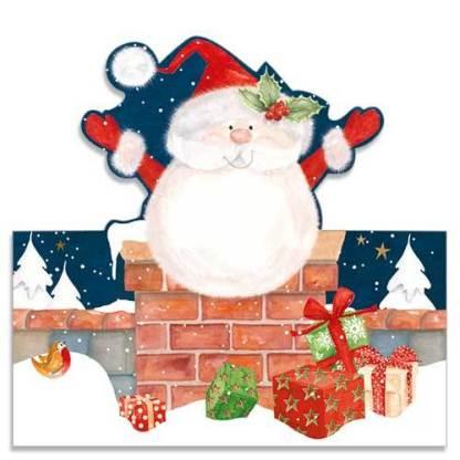 Santa Down the Chimney Christmas Cards