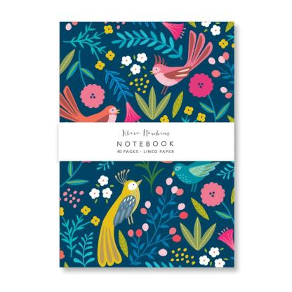 Dark boho birds small notebook