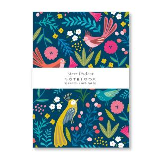 Dark boho birds small notebook