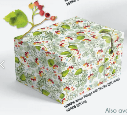 Winter Foliage with Berries gift wrap