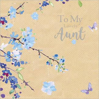 Blue Blossom Aunt Birthday Card
