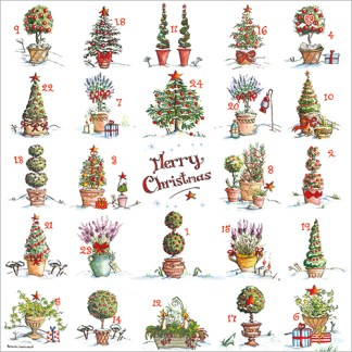 Festive Pots Advent Calendar Card