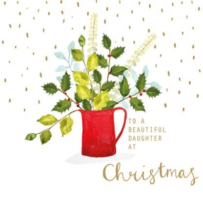 Red Christmas Jug Daughter Christmas Card