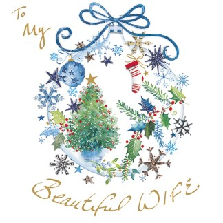 Christmas Bauble Wife Christmas Card