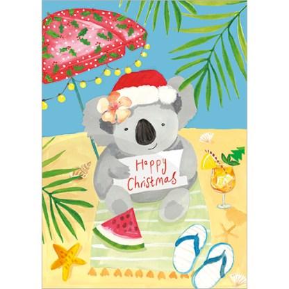 Koala on the Beach Christmas Cards