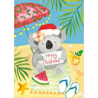 Koala on the Beach Christmas Cards