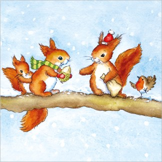 Red Squirrels Christmas Cards