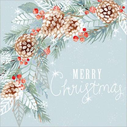 Merry Christmas Foliage Cones Christmas Cards