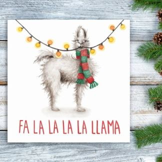Fa la la la la Llama Christmas card