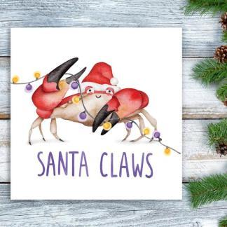 Santa Claws Crab Christmas Card