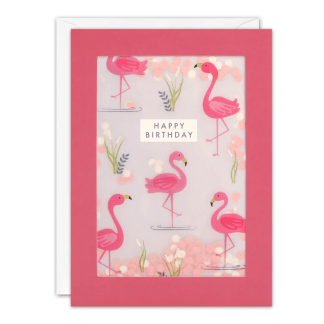 Flamingo Pattern Birthday Shakies Card