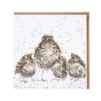 Frazzled bird family card