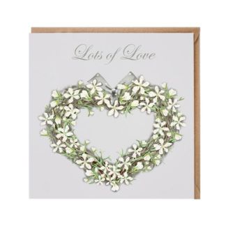 'Lots of Love' floral heart card