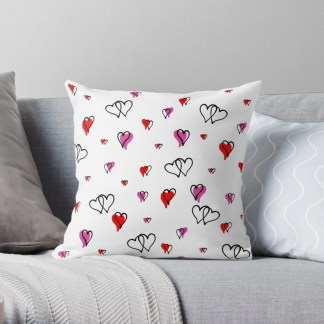Pink and Red Hearts Cushion