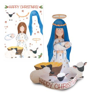 Mary and Jesus 3D card