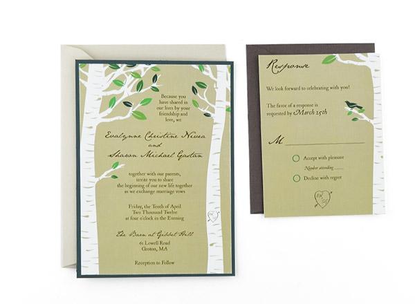Birch Trees Free Wedding Invitation