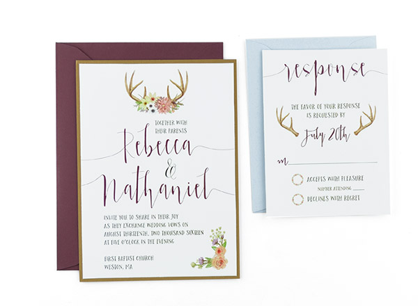 Woodland Watercolor Free Wedding Invitation Template