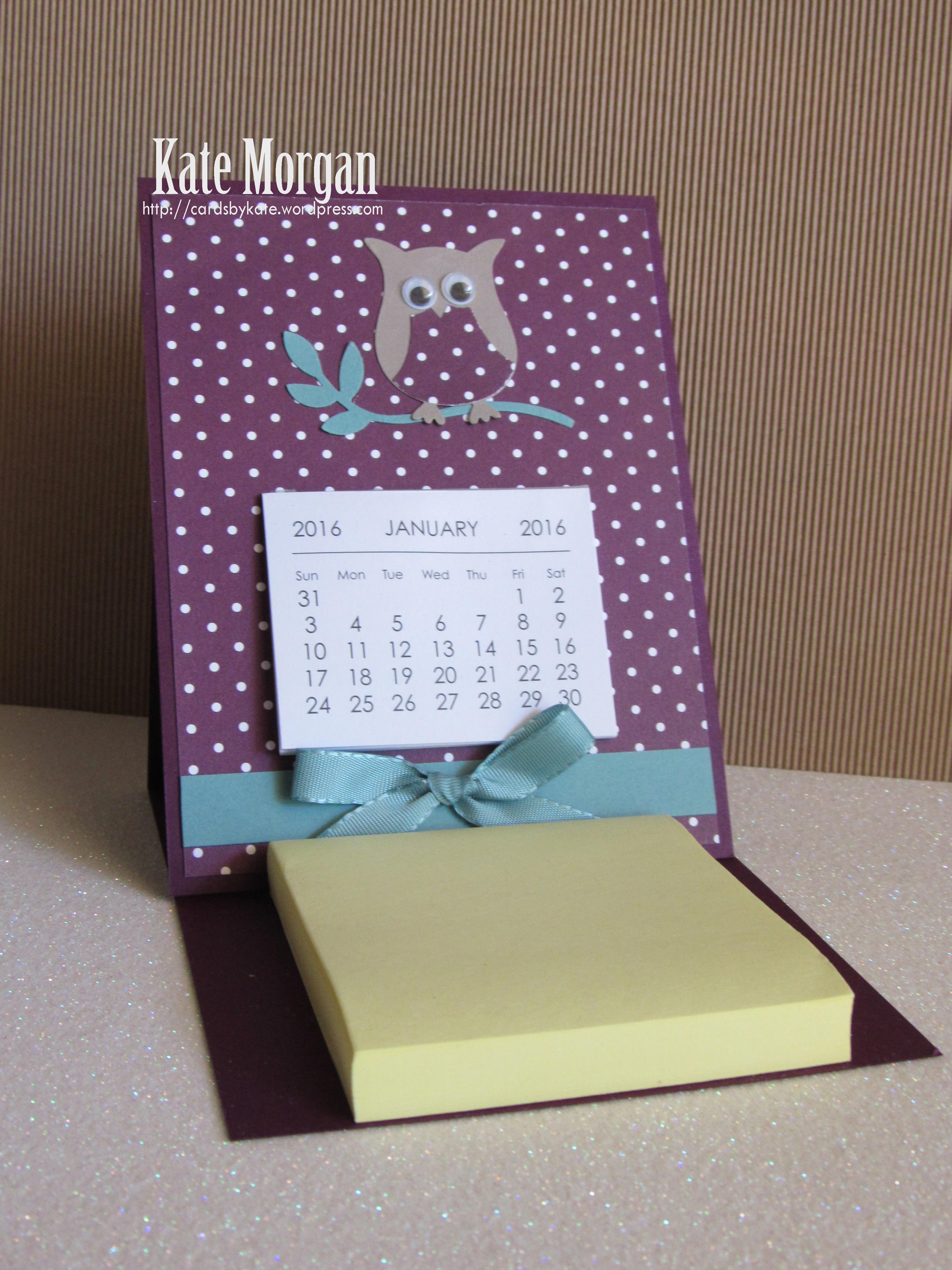 Easel Calendar Amp Post It Note Card Kate Morgan
