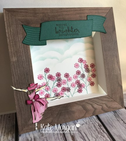 Beautiful Bouquet stamp set, Pretty Label Punch (sponging creating the clouds), Lovely Laurel Thinlits , Beautiful You, Wood Textures DSP by Kate Morgan, Independent Stampin Up Demonstra