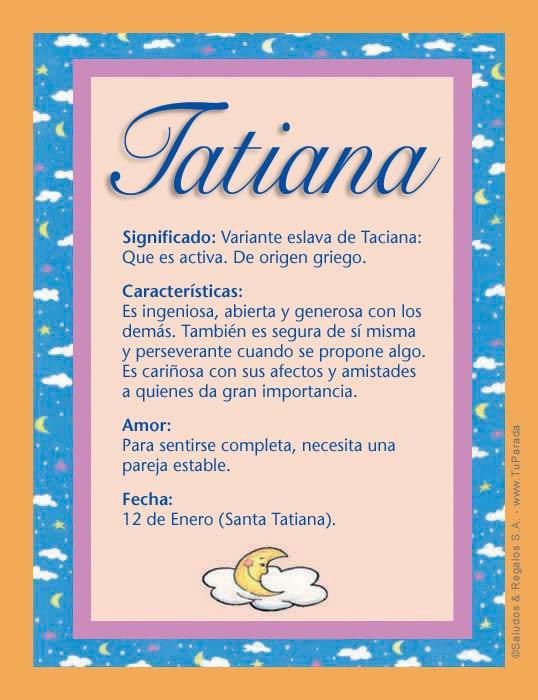 Tatiana Significado Del Nombre Tatiana Nombres