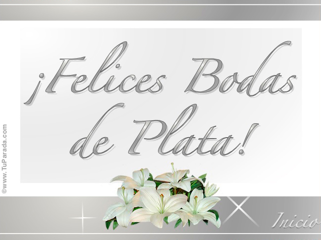 Tarjetas De Aniversario De Bodas: Feliz 25 Aniversario De Plata