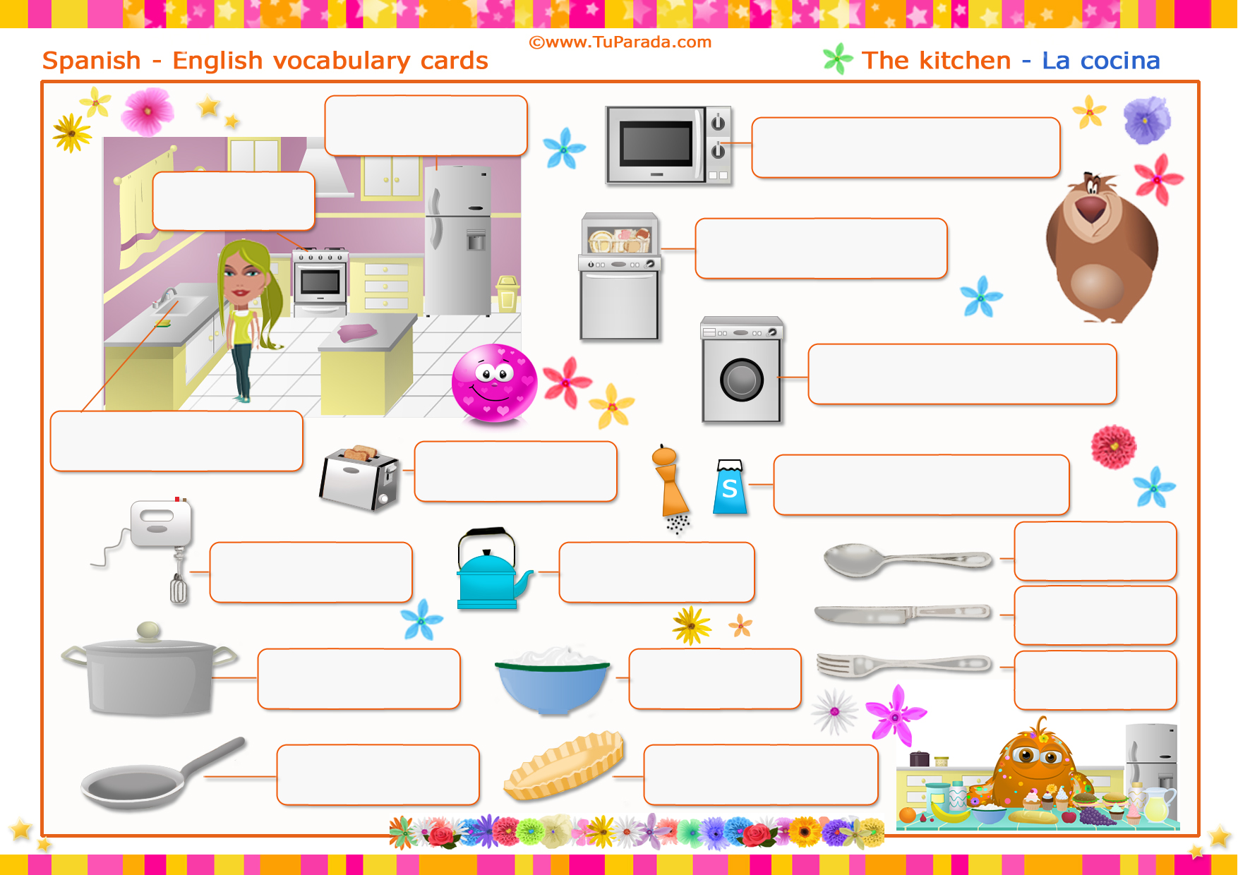 Vocabulario Cocina  Kitchen Imprimir  Vocabulario