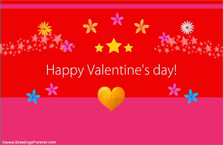 Happy Valentines Day Ecard In Red Valentines Day Ecards