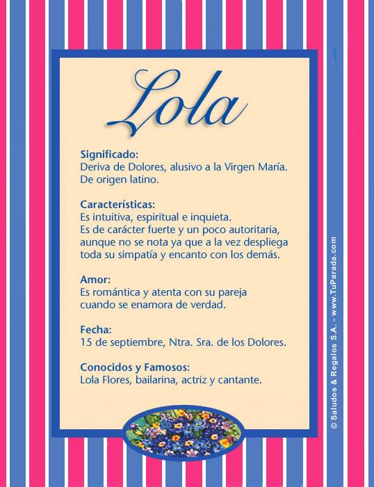 Lola significado del nombre Lola nombres