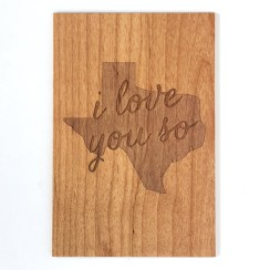 wooden Texas card