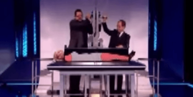 Penn & Teller Reveals How to Saw a Woman in Half, and then ACTUALLY Saws Her in Half