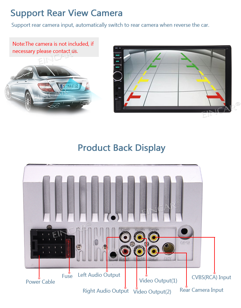 medium resolution of screen size 7 inch hd screen screen resolution 800 x 480 product features capacitive 5 pinots touch screen support rear view camera input