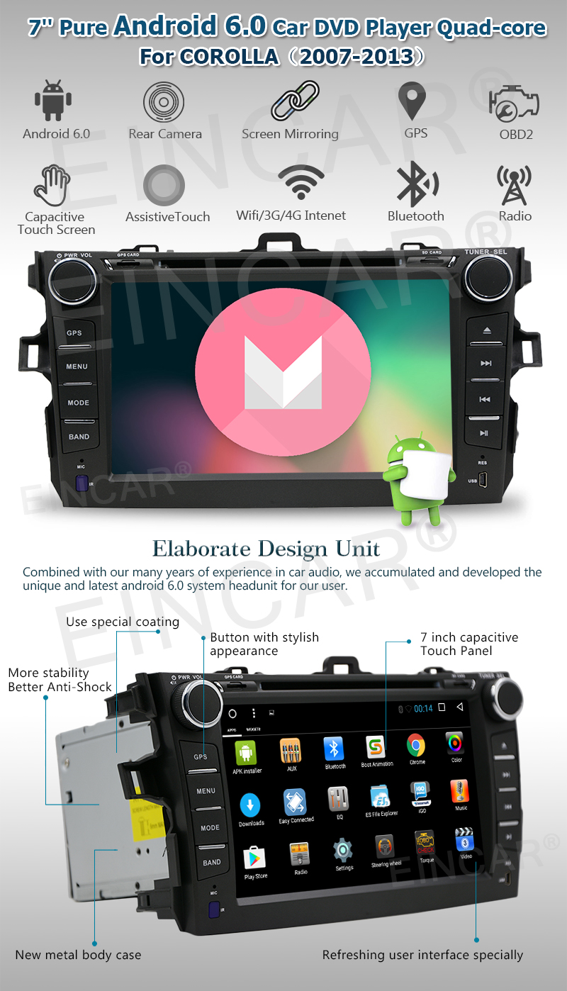 7 way navigation lutron 4 dimmer switch wiring diagram android6 0 car stereo in dash 2 din dvd player this is special for toyata corolla 2007 2013 plug and play installation to ensure it will be fit your please kindly