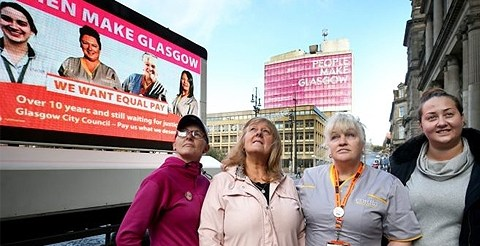 Council workers help launch equal pay advert ahead of 48-hour strike in Glasgow 8