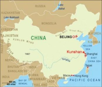 map showing the city of Kunshan in China