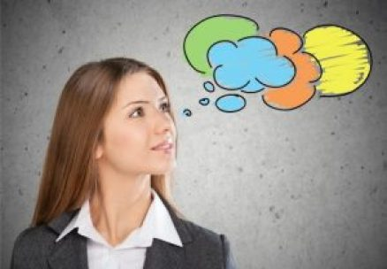 picture of a woman with graphic of a thought cloud showing she is thinking about something