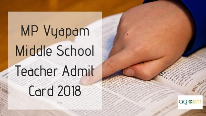 MP Vyapam Middle School Teacher Admit Card 2018
