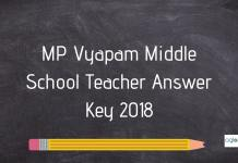 MP Vyapam Middle School Teacher Answer Key 2018